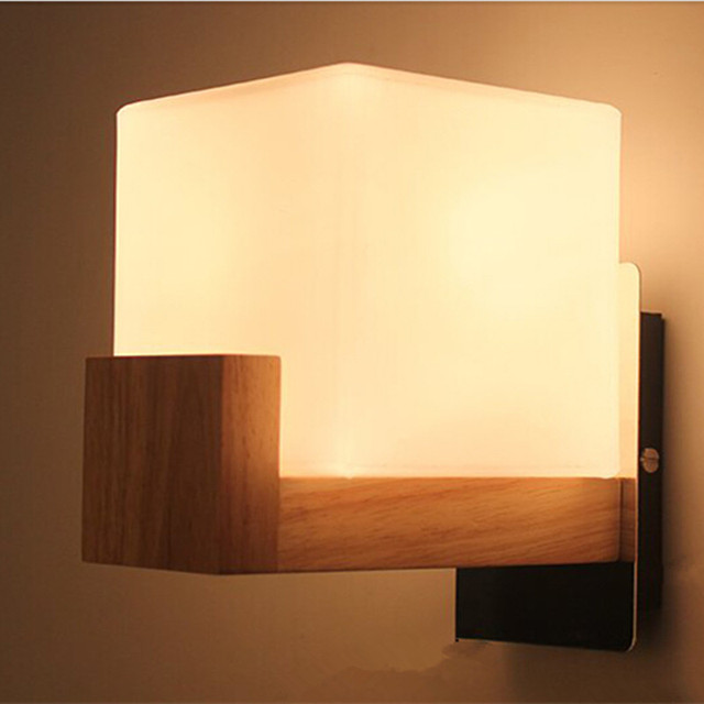 Modern Wood Wall Lamps White Glass Lamp Shade Dining Room Sitting Room  Corridor LED Indoor