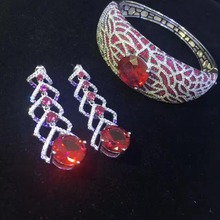 925 sterling silver with cubic zircon jewelry sets earring and bangle high quality fine women jewelry free shipping