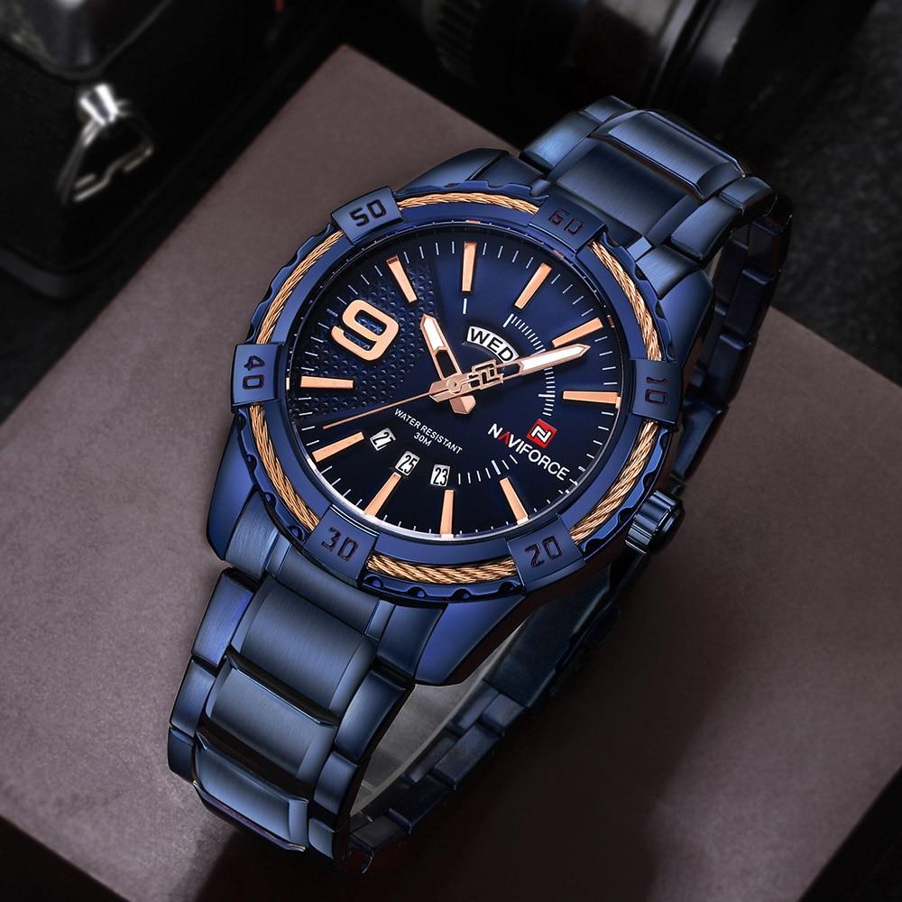 Naviforce Топ Роскошные мужские часы синие водонепроницаемые часы с датой недели кварцевые часы мужские спортивные наручные часы из полной стали мужские часы - 3