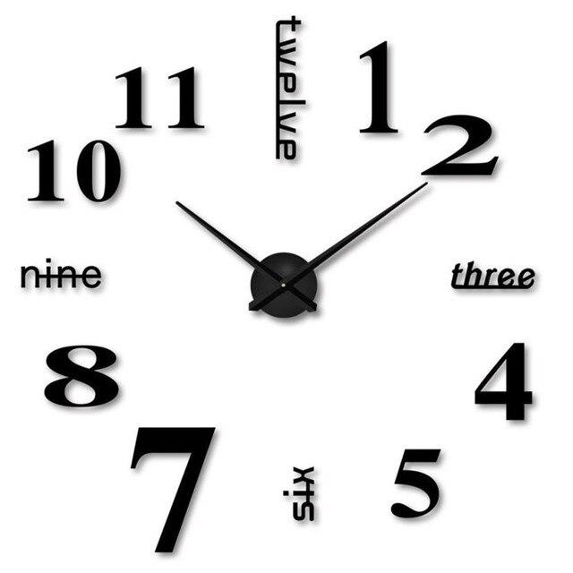 Large 50CM DIY sticking wall clock English letter number Acrylic 3D Mirror clock Watch Home Office Decor sticker clock drop ship