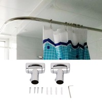 Practical Stainless Steel Brushed Nickel Curved Shower Curtain Rod Bath Area Bathtub Accessory LU Type Bathroom
