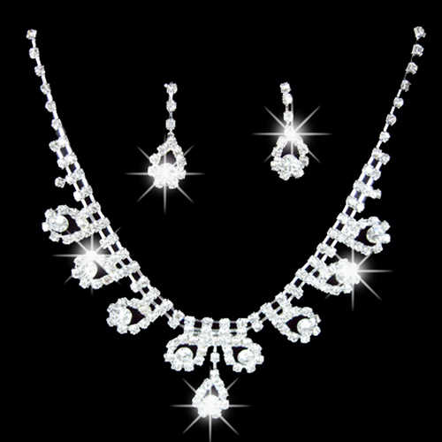 Classic women Lady Bridal Wedding Engagement Rhinestone Teardrop Necklace Earrings Jewelry Set Elegant silver Crystal Necklaces