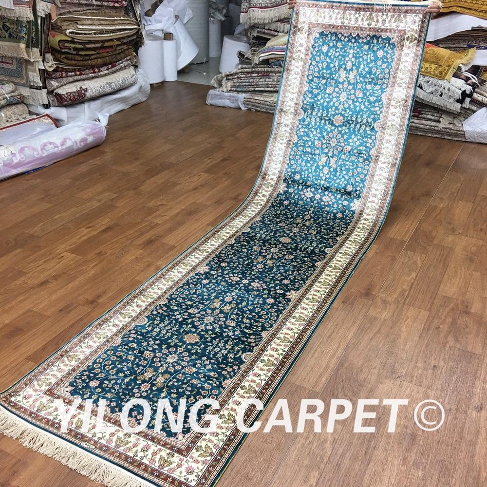 Yilong 2.5'x10' Silk Oriental Rugs Runners Blue