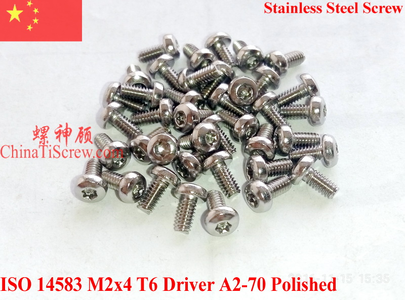 Stainless Steel Screws M2x4 ISO 14583 Pan Head Torx T6 Driver A2-70 ROHS Polished  100 pcs