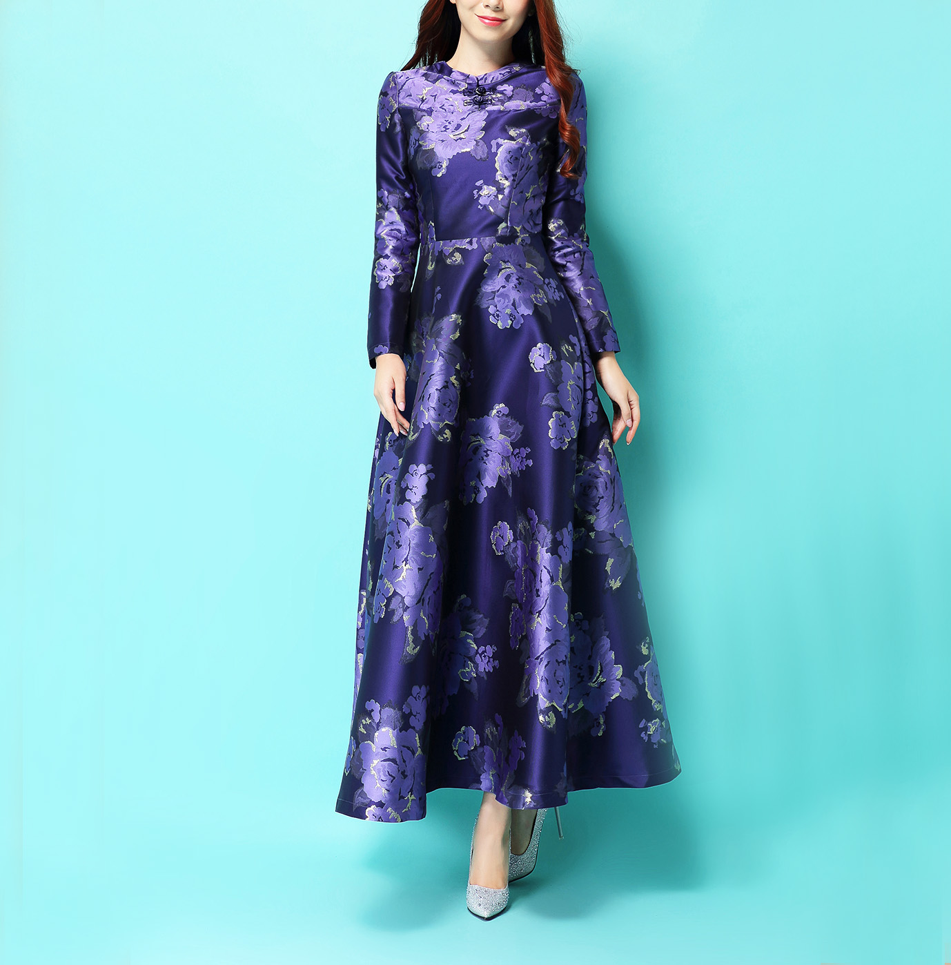 Flor Manga Imprimir Largo 2017 Chino Mujer Maxi Larga De Vestido Púrpura Plua Piso Estilo Púrpura Delgado Tamaño Otoño longitud Invierno Eqqw0pg