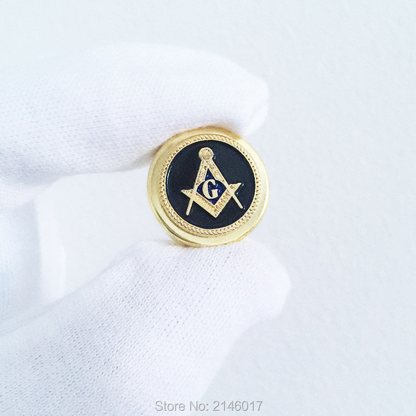 US $25 0 |5pcs Masonic Metal Button for ID Card Rope Freemasonry Masons  Black Enamel G Compass and Square Pins-in Buttons from Home & Garden on