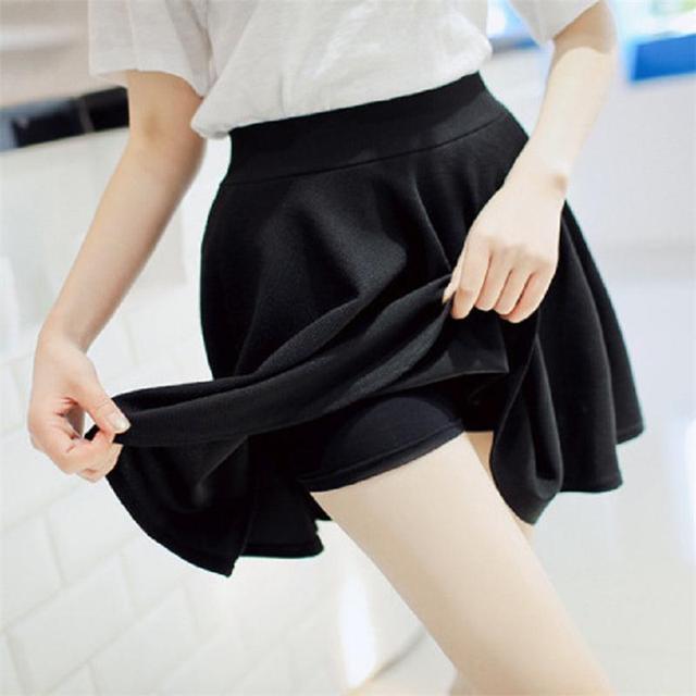 2015 Verano Mujer Nueva Forrado Anti Vaciado Faldas Plisadas Alta Cintura Casual Shorts Solid Faldas A718