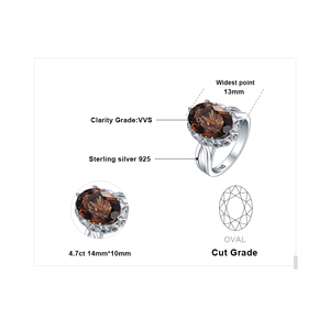 Image 5 - JewelryPalace Huge Genuine Smoky Quartz Ring 925 Sterling Silver Rings for Women Engagement Ring Silver 925 Gemstones Jewelry