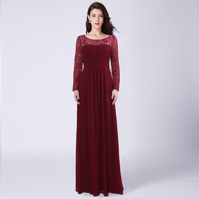 Venda Borgonha Longo Da Dama De Honra Vestidos Sob 50 Lace