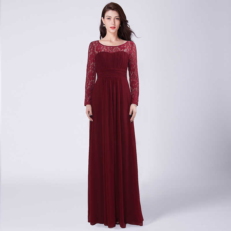 Burgundy Long Bridesmaid Dresses Under 50 Lace Sleeves Chiffon Dress For Wedding Party Open Back
