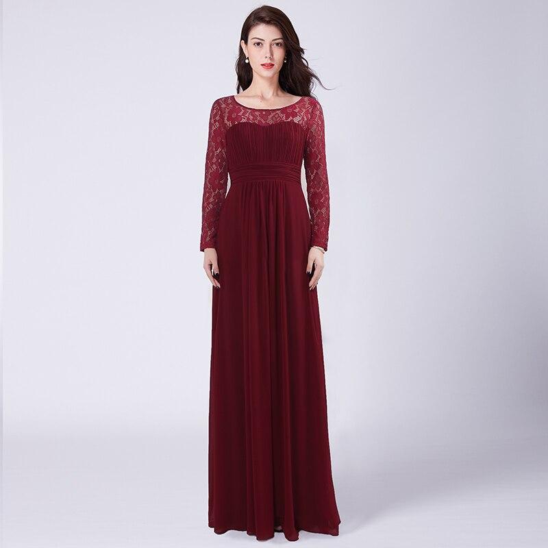 Burgundy Long   Bridesmaid     Dresses   Under $50 Lace Long Sleeves Chiffon   Dress   For Wedding Party Open Back vestido de festa longo