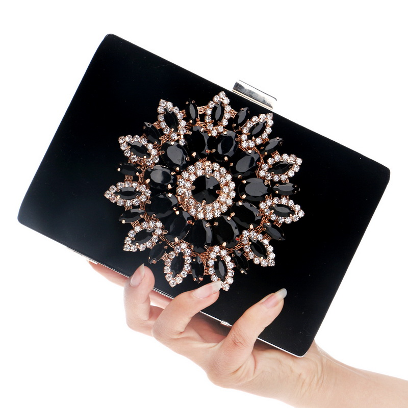 Flower Rhinestones Women Handbags bag