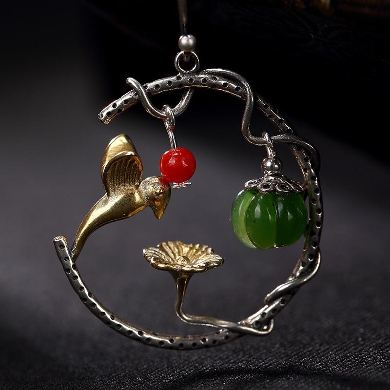 Handmade Real 925 Sterling Creative Natural Jasper Gemstone Drop Earrings Asymmetric Earrings For Women Fine Jewelry стоимость