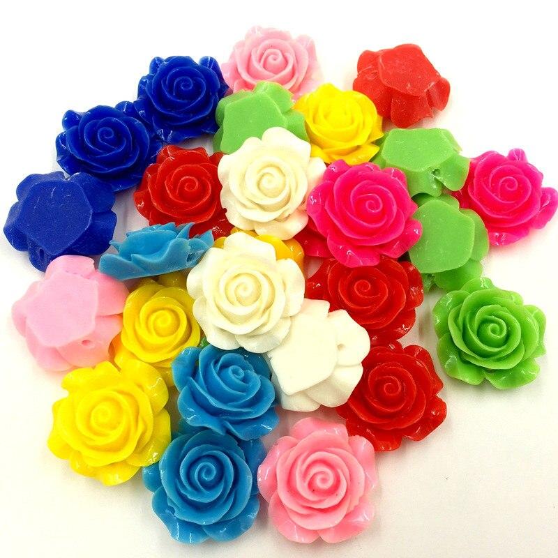 50 шт. оптовая конфеты Цвета смолы цветок Форма Spacer Бусины купол Уплотнители камеи ювелирных изделий 28×27 мм