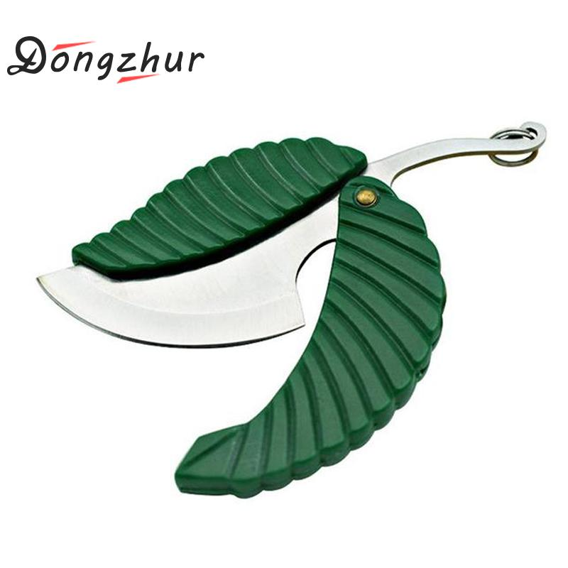 Mini Foldable Leaf Shape Pocket Knife Folding Car-styling Keychain Knife Outdoor Camp Knife Camping Survival Tool