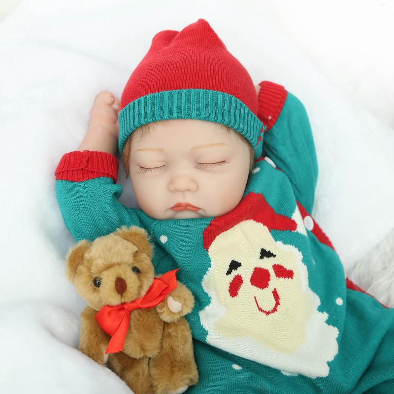 купить 55cm Silicone Reborn Baby Dolls Soft Sleeping Babies Real Vinyl Toys For Sale Xmas Girls Gifts Brinquedos Reborn Bebe Bonecas по цене 6799.07 рублей