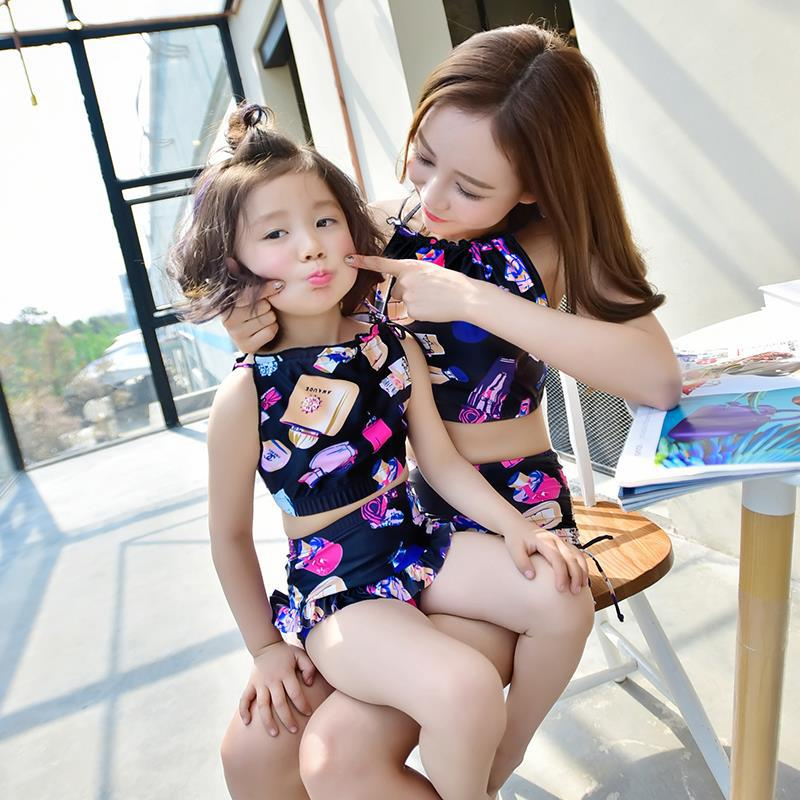 ФОТО 2017 New Summer Family Matching Outfits Clothing two Pieces Baby Lovely Bikini Swimsuit Swimwear Girls and Mothers Beachwear