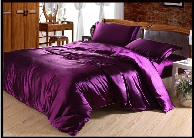 Luxury Deep Purple Silk Bedding Set Satin Sheets Queen Full Twin