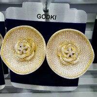GODKI Trendy Luxury Big Round Flower Stud Earrings For Women Wedding Cubic Zircon CZ Dubai Bridal Earrings Bohemia Hot Drop Ship