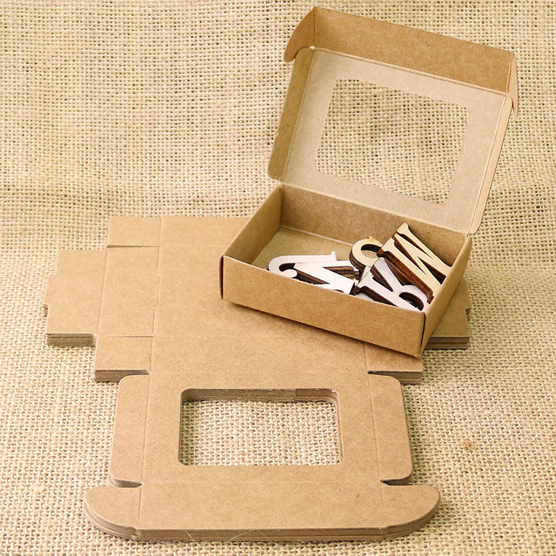 20pcs Blank Kraft Paper Box With Window Handmade Soap Box