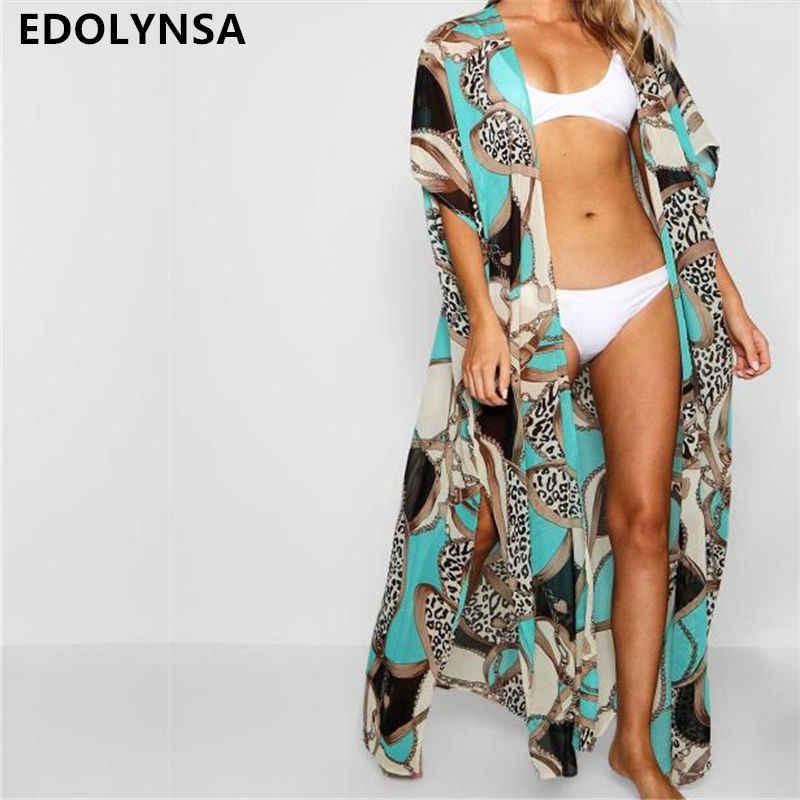 df8c10566a 2019 Green Bohemian Multicolored Printed Plus Size Women Summer Beachwear  Long Kimono Cardigan Beach Top Blouse