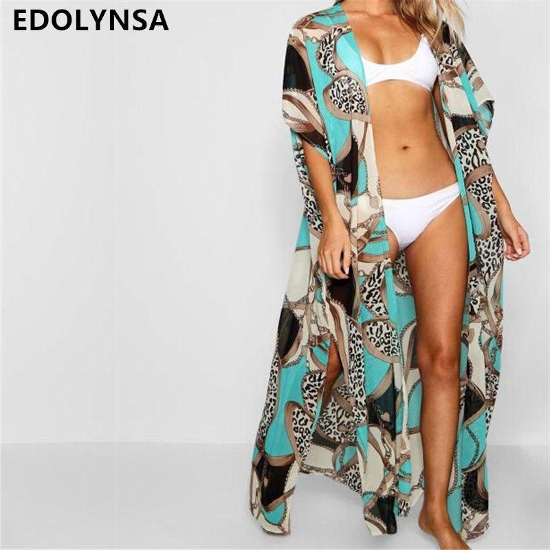 2019 Green Bohemian Multicolored Printed Plus Size Women Summer Beachwear Long Kimono Cardigan Beach Top   Blouse     Shirt   pareo N700
