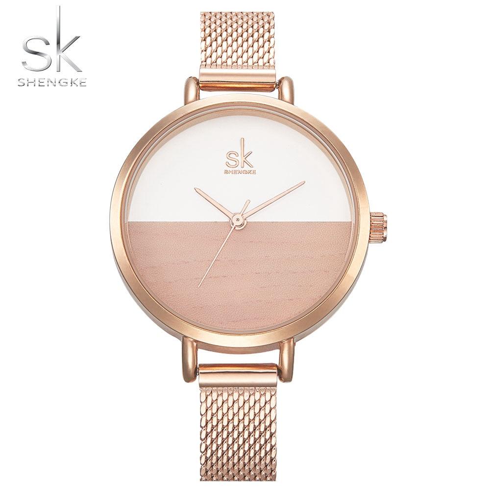 SK New Women Watches Luxury Brand Watch Rose Gold Women Quartz Clock Creative Wood Pattern Dial Fashion Wristwatch montre femme