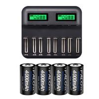 PALO LCD Display USB Charging Battery Charger For Ni Cd Ni Mh C D Rechargeable Batteries + 4 pcs C 4000mah Batteries OR 8 pcs