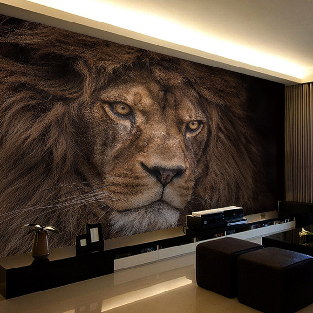Photo Wallpaper Custom 3D Stereo HD Wildlife Lion Backdrop Wall
