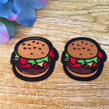 Iron-on 5pcs Hamburger Embroidery Patch Motif Applique Cartoon Vegetables Patches DIY Accessory 16BT071