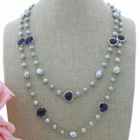 AB010103 Gray Pearl Blue Crystal Long Necklace 51''