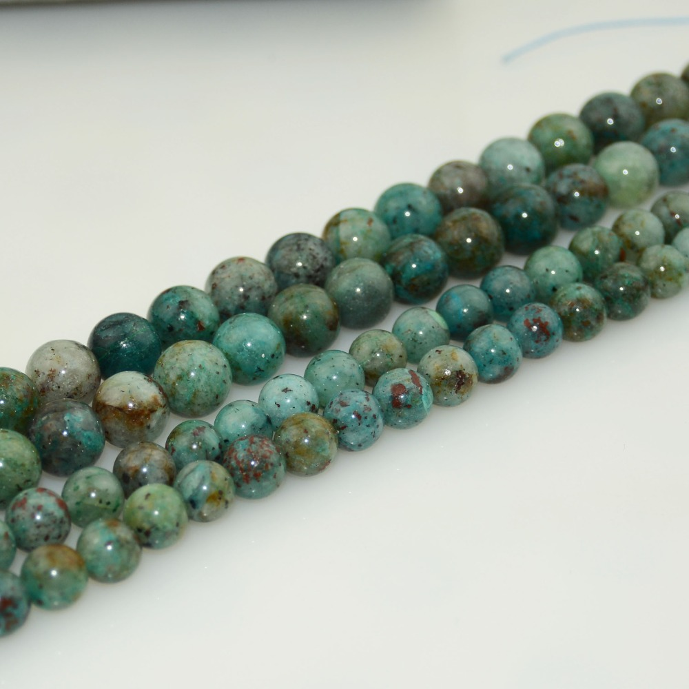 """10MM AFRICAN TURQUOISE GEMSTONE GREEN ROUND 10MM LOOSE BEADS 7.5/"""""""