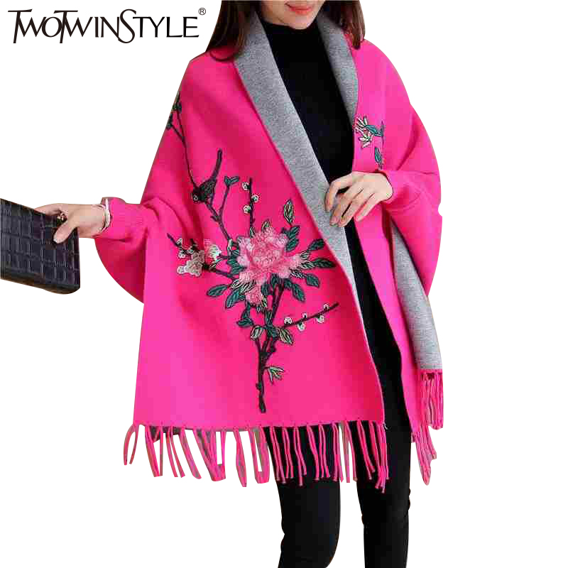 TWOTWINSTYLE 2020 Spring Women Embroidery Floral Tassel Trench Coats Cloak Long Sleeves Female Knit Cardigan Sweater Windbreaker