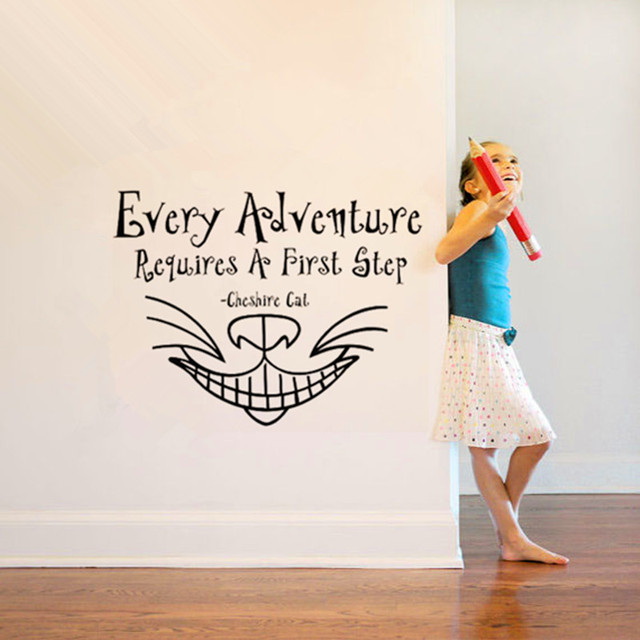 """Quotes From Alice In Wonderland Enchanting Alice In Wonderland Wall Sticker """"every Adventure."""" Cheshire Cat"""