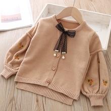 Хлопковая Детская куртка, кардиган для девочек, Детский свитер, корейское пальто с длинными рукавами, вязаная верхняя одежда для маленьких девочек, осенне зимняя одежда