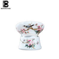 Chinese Style Porcelain Fair Cup Office Teaware Tea Ceremony Accessories Hand Painted Flower Bird Pattern Leaves Filter Gifts