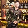 Nova Vindo de Alta Qualidade de Veludo Ouro Peacock Imprimir Blazer M-XXXL 2016 Outono Inverno dos homens Slim Fit Jaqueta Casaco Outerwear Para homens