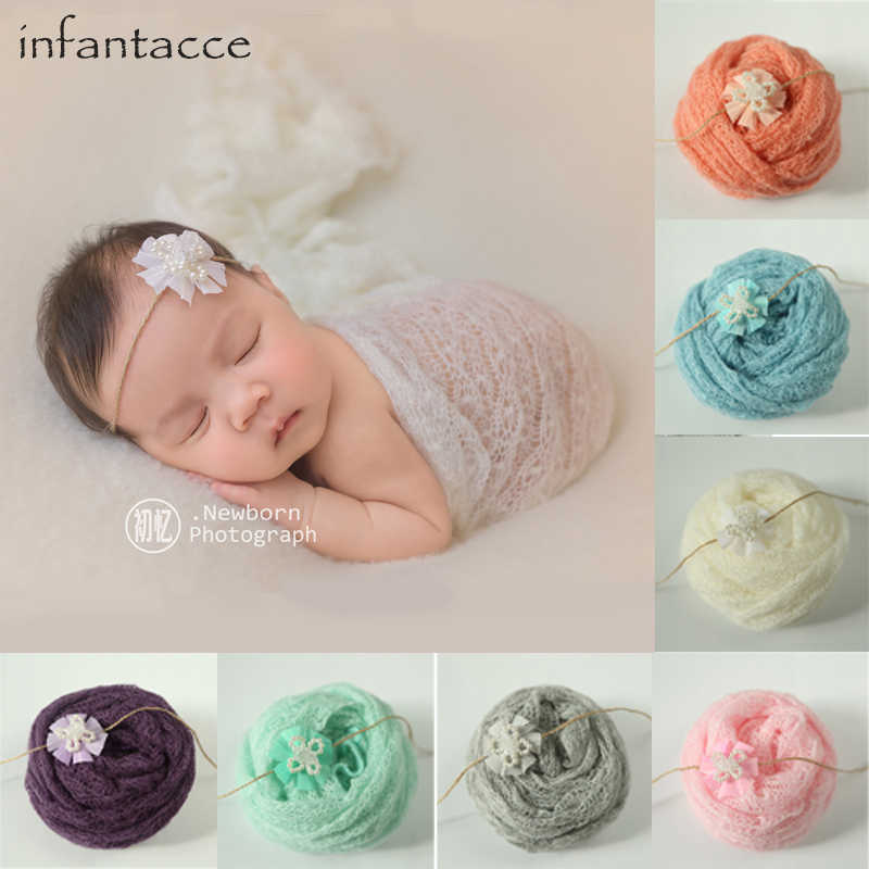 40x150 см реквизит для фотосъемки новорожденных мохеровые вязаные фото эластичная обертка + повязка на голову детское одеяло для фото кокон повязка для волос