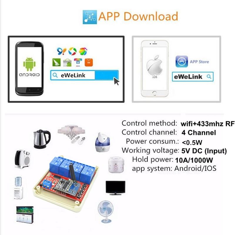 New 4 Way 5V DC 10A WIFI Light Switch Universal Smart Home ...
