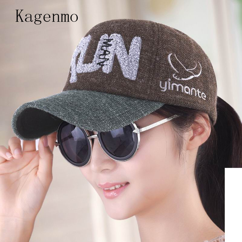 Kagenmo Baseball cap female spring and autumn hat embroidery women cap knitted hat casual hat autumn sun hat fashion warm visor kagenmo spring and autumn warm ear protection baseball cap upset cotton hat russian love 5color 1pcs brand new arrive