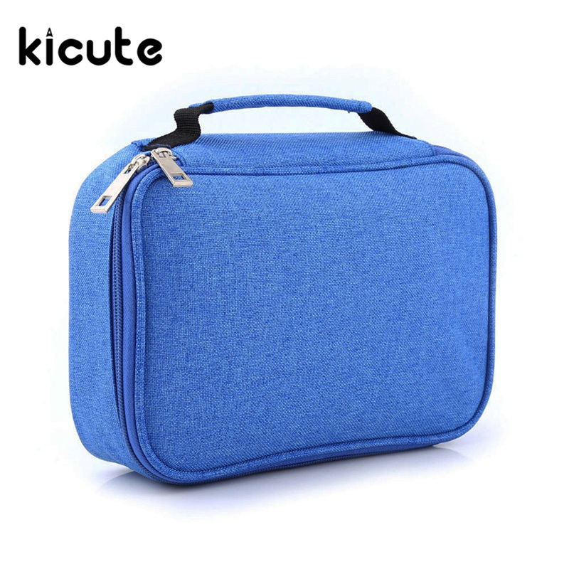 Kicute 1pcs 72 Slot Student Fabric Pen Bag Pencil Case Pouch Box Women Cosmetic Brush Holder Top Quality Office School Supplies perfect pencil case pencil bag feather sleeve pencil case for 72 pen color blue