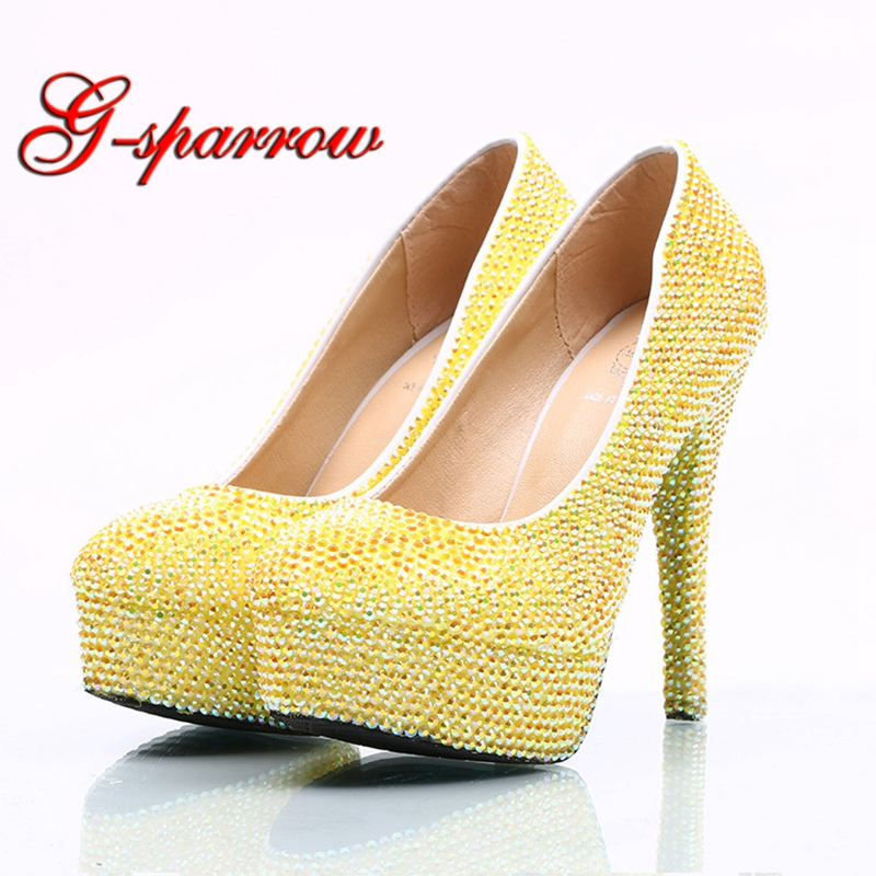 Lemon Yellow Crystal AB Evening Party Prom Shoes Theatre Stage Show High Heel Shoes Banquet Party