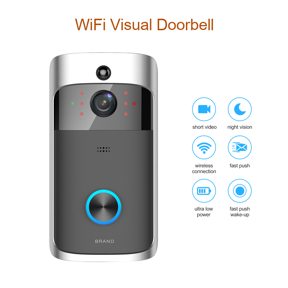 Smart WiFi Security DoorBell with Visual Recording Low Power Consumption Remote Home Monitoring Night Vision Video