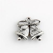 30pcs Tibetan silver pendant jewelry made of charm Christmas bell bow bracelet