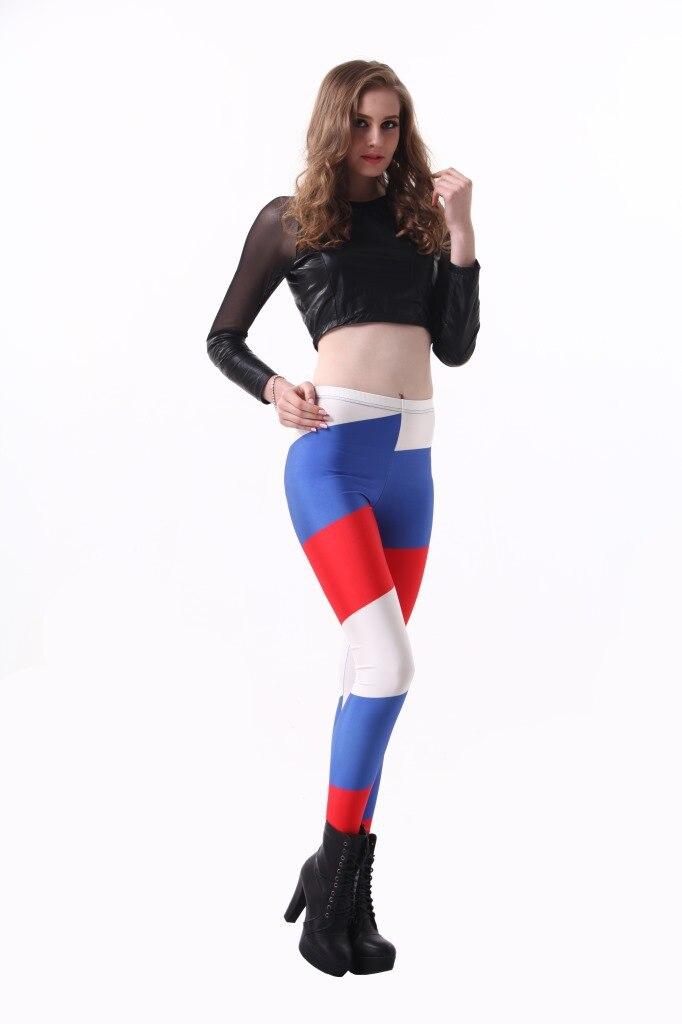 Fashion women Leggings USA Russian French National Flag Print Fitness legging Elasticity Sexy Leggings Trouser Render Pants