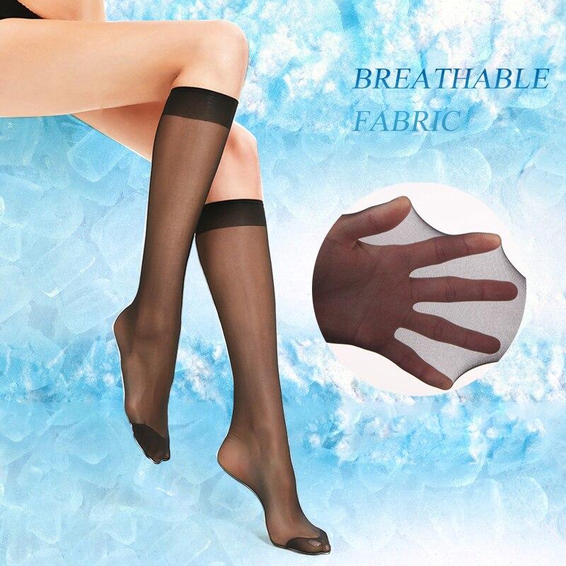 Arherigele 20pcs 10pair Lady Solid Nylon Stockings Women Crystal Transparent Stockings For Summer Over Knee Highs Socks Hosiery