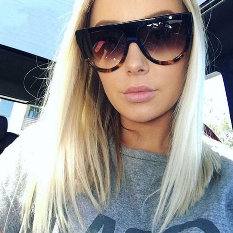 Oversized Sunglasses Frames Shades Female Women Retro UV400 Top Rivet Electroplated Flat
