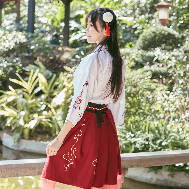 Summer Woman Japanese Traditional Dress Embroidery Ancient Fashion Kimono Girls Japanese Style Clothes Outfits Lace Up Skirt 3