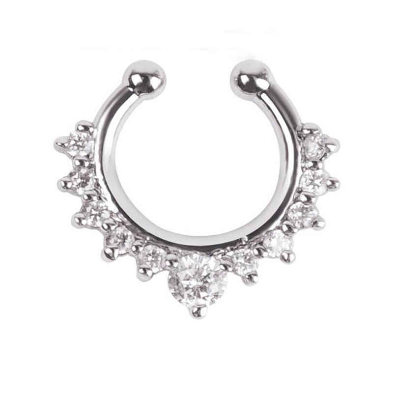 Nose Hoop Nose Rings Body Piercing Jewelry Fake Septum Clicker Non Piercing Hanger Clip On Jewelry