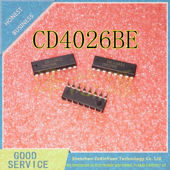 10PCS/LOT CD4026BE CD4026 DIP16 IN-LINE DECIMAL COUNT / DIVIDER NEW